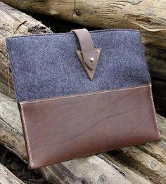 Gorgeous! :: Custom Leather & Wool iPad Sleeve
