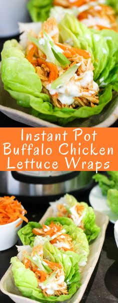 Healthy Recipes Breakfast Instant Pot Buffalo Chicken Lettuce are the perfect healthy chicken recipe! Make the spicy chicken in just minutes, then load up fresh lettuce wraps with your favorite toppings! Good Healthy Recipes, Healthy Chicken Recipes, Cooking Recipes, Healthy Food, Spicy Chicken Salad Recipe, Lunch Recipes, Drink Recipes, Spicy Chicken Wrap, Salad Recipes