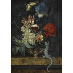 Willem van Aelst DELFT 1627 - IN OR AFTER 1683 AMSTERDAM (?) A STILL LIFE WITH TULIPS AND OTHER FLOWERS IN A VASE ON A MARBLE LEDGE, WITH A LIZARD AND A BUTTERFLY oil on oak panel   45.7 by 32.1 cm.; 18 by 12 5/8 in. READ CONDITION REPORT