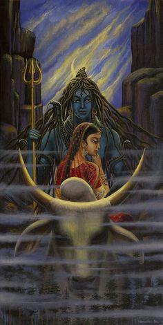 Shiva Print featuring the painting Shiva Parvati. Night In Himalayas by Vrindavan Das