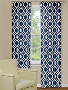 Exceptional Curtain Panels With Retro Ogee Pattern In Blue