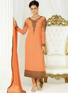 Peach Embroidery Work Georgette Chiffon Designer Fancy Churidar Suit http://www.angelnx.com/Salwar-Kameez/Churidar-Suits