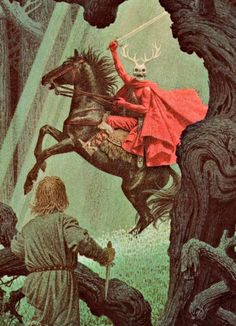 """Taran and the Horned King from Llyod Alexander's""""The Chronicles of Prydain"""" (you maybe remember also Disney's adaption""""The Black Cauldron"""")"""
