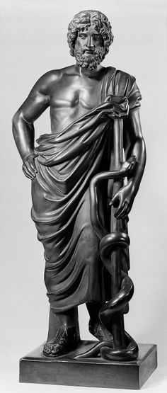 Asklepios was the Greek god of healing. He was believed to be the son of Apollo… Ancient Rome, Ancient Greece, Ancient Art, Ancient History, Ancient Greek Sculpture, Greek Statues, Ancient Greek Costumes, Greek Gods And Goddesses, Roman Art