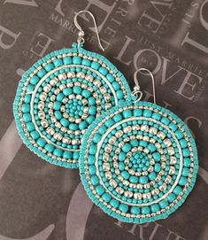 Silver and Turquoise Seed Beaded Earrings  Big Bold by WorkofHeart