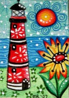 Art Journal Inspiration, Painting Inspiration, Lighthouse Painting, Handprint Art, Creative Artwork, Pallet Art, Naive Art, Art For Art Sake, Mexican Art