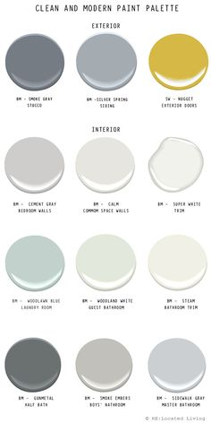 A few people who have come to the house have asked me about my paint color selection. I think to many people choosing a paint color can be a little daunting with the whole rainbow of paint chips to choo Exterior Gris, Exterior Colors, Exterior Paint, Room Colors, Wall Colors, House Colors, Interior Paint Colors, Paint Colors For Home, Interior Painting