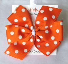 Extra Large Orange with White Polka Dots Pinwheel by KatiebugBows, $6.00