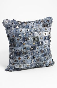 Mina Victory Button Denim Pillow; Upcycled waistbands from well-worn jeans