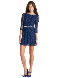 As U Wish Juniors Lace Skater Dress With Belt - House Of Fashion