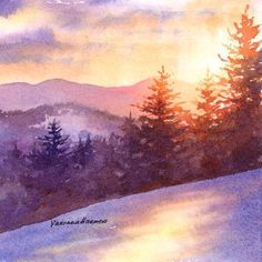 Malerei Mountain Sunset is a painting by Varvara Harmon which was uploaded on November T Watercolor Scenery, Watercolor Landscape, Landscape Art, Landscape Paintings, Watercolor Paintings, Watercolours, Simple Watercolor, Art Soleil, Mountain Sunset