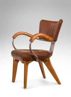 flemming lassen rare and unique original leather beach and steel armchair ca1935