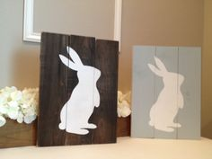 Handmade Wood Bunny Silhouette Sign for Spring by FeatheredNestor