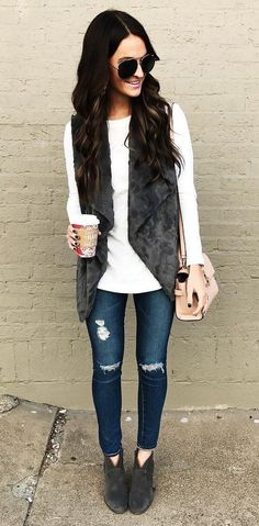 #winter #outfits /  Ripped Skinny Jeans // Velvet Vest // White Knit //  Velvet Booties