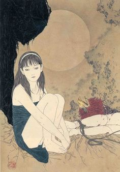 Gimme More Bananas: Takato Yamamoto Japanese Art Modern, Japanese Drawings, Japanese Prints, Akita, Japan Illustration, Yamamoto, Ero Guro, Art Chinois, Japanese Horror