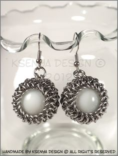 Adeline  - unique chainmaille earrings. #jewelry #ksenyajewelry #earrings #chainmaille #wirejewelry #white