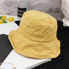 f925cfb622e Harajuku Style Fisherman Hat Cotton Flat Top Plaid Bucket Hats Summer  Kawaii High Quality Vintage Street Women Fishermn Hats
