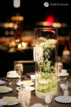 beautiful baby's breath centerpieces, bear grass, crystal gems