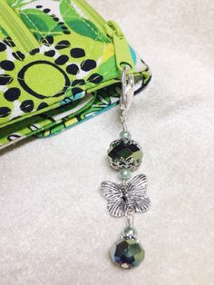 Butterfly Zipper Pull, Beaded Key Chain Charm, Crochet Stitch Marker, Wallet or Purse Charm, Green Iris Crystal, Necklace Pendant, blue
