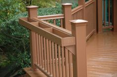 The design of a custom deck railing is a great place to show style in your custom deck rail design. Over the last few years many new deck railing products have been available to accentuate the architectural look of your special deck railing. Deck Railing Design, Deck Railings, Deck Design, Railing Ideas, Deck Balustrade Ideas, Balcony Railing, Design Art, Railing Planter Boxes, Deck Planters