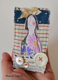 hens teeth : hand stitched Brooch
