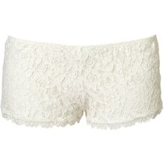 White Crochet Lace Boy Short (£15) ❤ liked on Polyvore featuring intimates, panties, shorts, bottoms, pants, underwear, women and cotton boyshorts