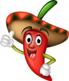 chili pepper cartoon thumbs up Stock Photo