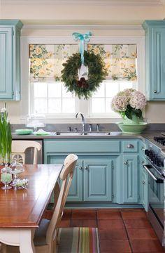 Tobi Fairley Interior Design. blue cabinet, cabinet colors, kitchen windows, blue kitchens, window treatments, wreath, blues, christma, kitchen cabinets