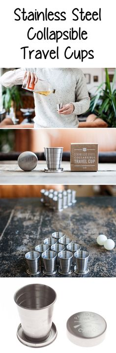 Collapsable Stainless Steel Travel Cups - good for travel, gifts, camping / backpacking, and more!