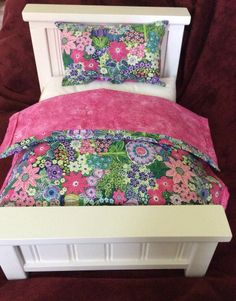 """American Girl Doll or 18"""" Doll bed with Bedding(Beautiful purple/pink/green )"""