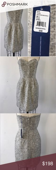 """Rebecca Minkoff Lara Bustier Dress Size 4 NEW NWT Brand new with tag still attached Rebecca Minkoff 'Lara' strapless bustier dress in a size 4. Fully lined in a cream satin with light boning on the sides and a darling sweetheart neckline. Back invisible zipper.  Wool blend with cream, grey, and black flecks throughout. Color listed on tag is 'oatmeal.'  Bust: 32"""" Waist: 26""""  Hips: 37"""" Rebecca Minkoff Dresses Strapless"""