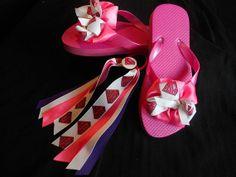 Super Girl Flip Flops and Matching Pony O by GrandmasBowsonETSY, $20.00