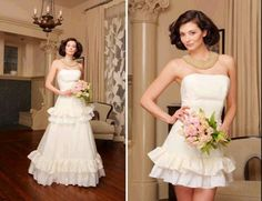 Great idea of having a 2 in 1 wedding dress. Have the nice fuller skirt for the ceremony and then the cute party dress for the reception. 2 In 1 Wedding Dress, Detachable Wedding Dress, Wedding Dresses Photos, Elegant Wedding Dress, Wedding Dress Styles, Bridal Dresses, One Shoulder Wedding Dress, Flower Girl Dresses, Bridesmaid Dresses