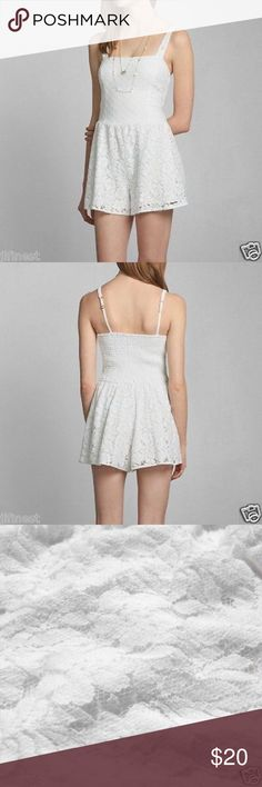 White Lace Romper xs In good condition! Abercrombie & Fitch Pants Jumpsuits & Rompers