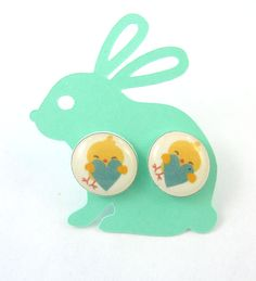 """EARRINGS Yellow Chick and Blue Heart  Post Earrings.  1/2"""" or 13 mm. Stud  Earrings. Comes on a Handmade Backing Card  Ready to Gift. by buttonsbyrobin on Etsy"""