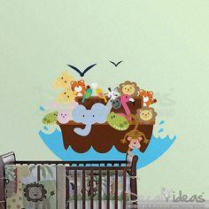 Elephant Lion and Monkey - Birds Printed Wall Decal #interior #wallart #wallsticker http://fpme.link/EsyF1N