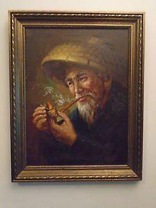 Asian man smoking painting