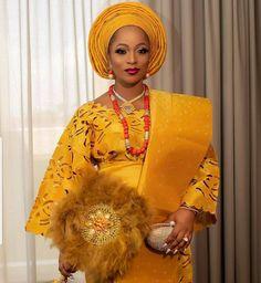 African Wedding Attire, African Attire, African Beauty, African Fashion, African Style, African Traditional Wedding Dress, Yoruba Wedding, African Lace Dresses, Yellow Lace