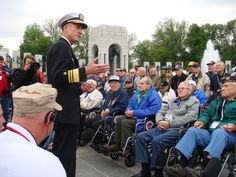 HONOR FLIGHT: Dirk Debbink, Vice Admiral of the U.S. Navy, addressed the veterans saying that every role that supported the country during the war was part of our success....  (Photo credit: Laura Schmidt)