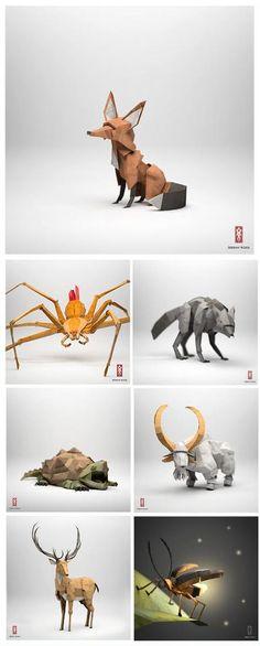 Origami animals by Jeremy Kool