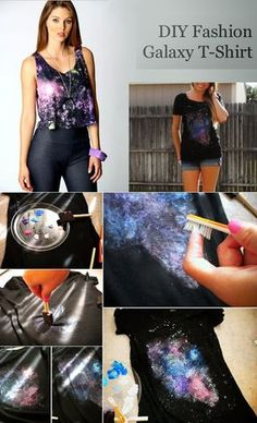 T-Shirt Makeovers - DIY Fashion Galaxy T-Shirt - Awesome Way to Upcycle Tees - Cool No Sew Tshirt Cutting Tutorials, Simple Summer Cutouts, How To Make Halter Tops and T-Shirt Dresses. Easy Tutorials and Instructions for Teens and Adults Shirt Makeover, T-shirt Refashion, Robe Diy, Galaxy T Shirt, Galaxy Print, Diy Galaxy, T Shirt Diy, Sew Tshirt, Diy Tshirt Ideas
