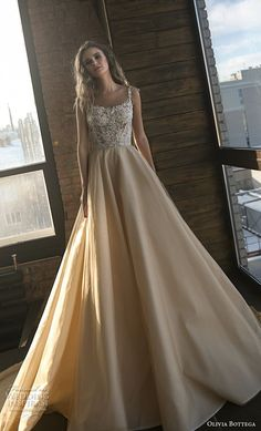 olivia bottega 2018 bridal sleeveless square neckline heavily embellished bodice romantic champagne colr a line wedding dress royal train (2) mv -- Olivia Bottega 2018 Wedding Dresses