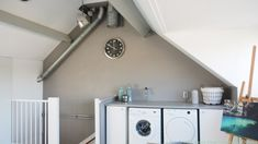 © SBZ Interieur Design - zolder interieur project Amstelveen-33 House Yard, Loft Room, Attic Storage, Attic Rooms, Home And Living, Laundry Room, Washing Machine, Living Room Designs, New Homes