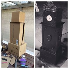 Made my own creepy Halloween mini grandfather clock! Made my own creepy Halloween mini grandfather clock! Soirée Halloween, Outdoor Halloween, Halloween Party Decor, Holidays Halloween, Diy Halloween Decorations Scary, Anniversaire Harry Potter, Manualidades Halloween, Design Set, Grandfather Clock