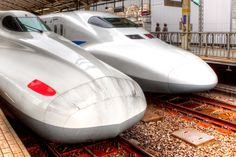 A Shinkansen 700n (left) and series 700 (right) in Tokyo Station. Soon they will accelerate to a smooth and quiet 170+ MPH