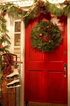 Christmas, home for the holidays,,, The Christmas Porch Christmas House Lights, Christmas Front Doors, Christmas Porch, Noel Christmas, Country Christmas, Outdoor Christmas, All Things Christmas, Christmas Wreaths, Christmas Decorations