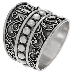 Women's Journee Collection Bali Design Wide-Cut Ring in Sterling Silver - Silver, 7