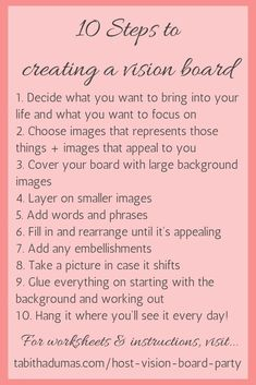 How to host a vision board party - Tabitha Dumas 10 steps to creating a vision board. And how to host a vision board party! How to host a vision board party - Tabitha Dumas 10 steps to creating a vision board. And how to host a vision board party! Vision Boarding, Affirmations, Vie Motivation, Motivation Boards, Creating A Vision Board, Create A Board, Goal Board, 2020 Vision, Life Planner