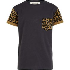 Boys black leopard print sleeve t-shirt $16.00