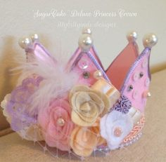 SugarCake Deluxe princess crown party hat photography prop handmade birthday crown
